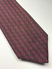 Hermes Paris Mens Necktie /  Purple Gold Pattern 100% Silk