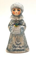 Snow maiden Santa Granddaughter Hand Carved Hand Painted Artwork Signed