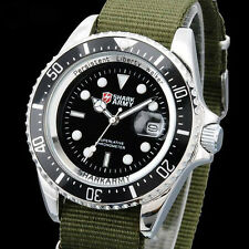 SHARK ARMY Men's Date Quartz Black Dial Green Nylon Military Fashion Wrist Watch