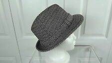 Sz 6 7/8 Vtg Resistol Fedora Paden Model Black Blue Red Cream Wool Check Feather
