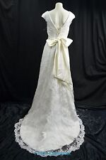 LACE Wedding gown bead V neck bow bridal train dress Victorian Ivory 8 NEW VTG
