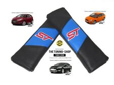 "2x Seat Belt Covers Pads Blue & Black Leather ""ST"" Edition Embroidery For Ford"