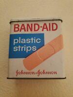 Vintage BAND-AID Metal Box Tin 67 Cents Johnson and Johnson Hinged Medical