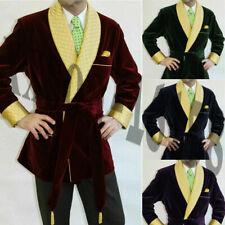Velvet Smoking Suit Men Jacket Dinner Wedding Party Wear Coat Shawl Lapel Formal