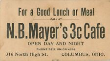 Business Card, N.B. Mayer's 3C Cafe, 31 North High Street, Columbus, Ohio