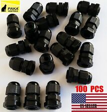100 Pcs New PG7 Black Plastic Waterproof Connector Gland 3-6.5mm Dia Cable
