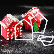 4pcs Christmas House Gingerbread Cookie Cutter Mold Sugarcraft Fondant Decor Set