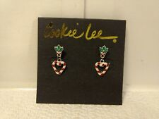 Cookie Lee Holiday Christmas Candy Cane Heart Fashion Earrings ch451