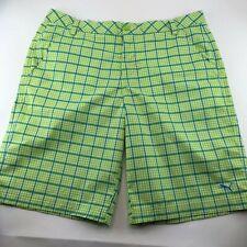 Puma Mens Green Blue Shorts Size 36 Plaid Checks Stretch Pockets