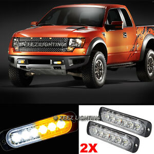 2X White&Amber 6 LED Emergency Hazard Warning Caution Beacon Strobe Light Bar#92