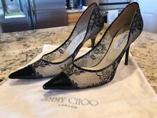 Jimmy Choo London Amika Lace Black High Heel Shoes & Dust Bag Size 40 EUC Italy