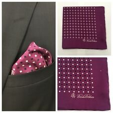 BROOKS BROTHERS Geometric Pocket Square Purple Handkerchief 100% Silk