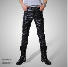 Fashion Mens Leather Pants Motorcycle Biker Trousers Slim fit Skinny Stretch New