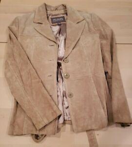 WILSONS LEATHER Women's Tan Genuine Suede Jacket Medium Pre-owned