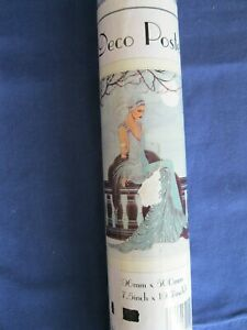 Deco Poster, 20s flapper style lady green long evening dress, Art Deco 70x50cm