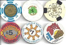 6 Vintage South Dakota Casino Chips (3 Deadwood & 3 Indian) - Starting at Face