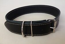 "BLACK REAL LEATHER 38mm WIDE DOG COLLAR FITS 19.5"" - 23.5"" NECK COMFORT:#)"