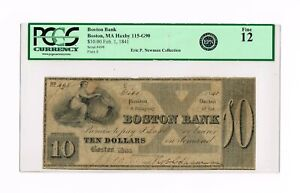 BOSTON BANK $ 10 FEB, 1, 1841   PCGS 12 EXTREMELY RARE/ SENC HAXBY  NEWMAN NOTE
