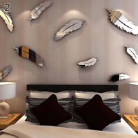 Eg _ 8PCS / Set Piuma Specchio Acrilico Muro Adesivo Casa Ufficio Decorazione