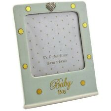 Mad Dots New Born Baby Boy Diamante Heart Ceramic Photo Picture Frame Blue Gift