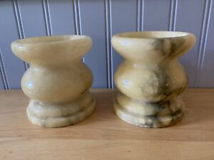 2 Italy Alabaster Stone Candlesticks / Holder Butterscotch W/ Black Marble 4.25""