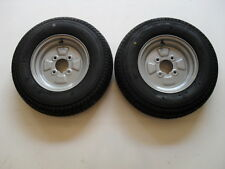 "2 OFF 145/80 R10 4 PLY  4 STUD 4"" PCD TRAILER WHEELS & TYRES  NEW ITEMS"