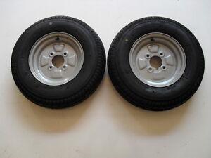 "2 OFF 145/80 R10 4 PLY  4 STUD 4"" PCD TRAILER WHEELS & TYRES - 375kg Per Tyre"