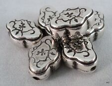 6 Medium Tibetan Silver Beads Flower-Shaped Flat 17mm x 12mm - Handmade in Nepal