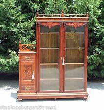 Aesthetic Victorian Walnut & Burl Bookcase wSide Cabinet & Gallery 2 Keys c1880