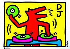 STAMPA SU TELA CANVAS KEITH HARING DJ DOODLE MUSICA MODERNO POP ART 70X100