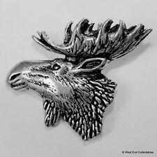 North American Moose Elk Head Pewter Pin Brooch - British Artisan Signed Badge