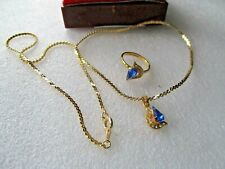 """BLUE  CLEAR CRYSTAL  PENDANT FLAT  18"""" GOLD TONE CHAIN   NECKLACE RING   SET"""