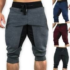 Mens 3/4 Length Casual Jogger Sports Shorts Gym Harem Harem Pants Sweat Trousers