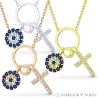 Cross & Evil Eye Charm Pendant Turkish Nazar Greek Mati Sterling Silver Necklace