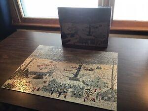 Vintage Springbok 1973 Grey Day By Grandma Moses Jigsaw Puzzle