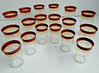 "18 Vintage Beverage Glasses Red Rim Yellow Leaves Detail - 3.5"", 4"", 5"""