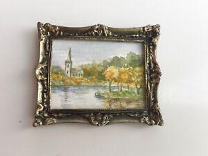 ORIGINAL PAINTING ARTISAN ANN HALL DOLLS HOUSE DOLLHOUSE ART PICTURE
