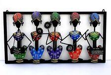Indian 5 Musician Iron Wall Hanging Frame Wall Decor Art Hand Painted Emboss