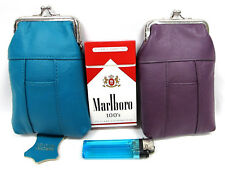 Pair of 2pc in 2 Color Genuine Leather Cigarette Case Fit 100s King Regular Pack