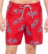 Mens Swim Trunks/Surf Shorts-Red/Blue Pineapple Print -NWT Large