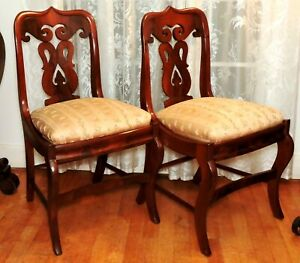 "Pr Empire side CHAIRs, Thomas Day, North Carolina, solid cherry, c1840, 32""t"
