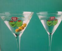 BIG MOUTH INC THE PERFECT PAIR MARTINI SET OF 2 GLASSES OLIVE YOU/OLIVE ME NEW