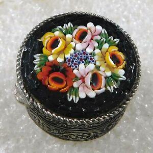 ARTISAN Grey METAL GLASS HANDMADE Vintage Micro Mosaic FLORAL PILL BOX