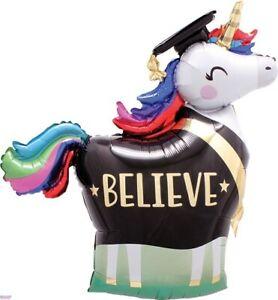 "Unicorn Believe Rainbow Graduation Grad Super-shape 33"" Foil Balloon"