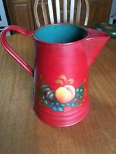 Vintage Toleware Large Red Metal Pitcher with Fruit