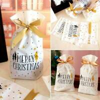 10pcs Christmas Reusable Drawstring Wrap Present Gift Bags Xmas Sacks Storage