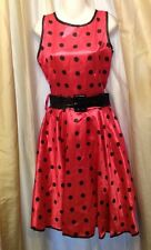 50's Dress Costume Size M Franco-American Novelty Hot Pink With Black Polka Dots