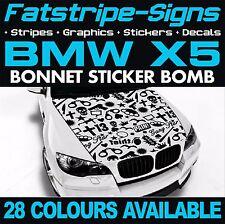 BMW X5 GRAPHICS STICKER BOMB BONNET DECALS STICKERS STRIPES E53 E70 F15 GUN
