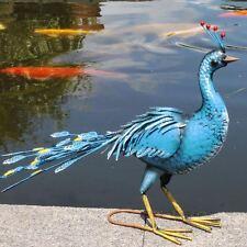 Jardín decorativa Ave Exótica Azul Pavo Real Escultura Estatua Ornamento Grande 74 Cm