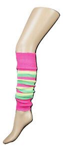 GIRLS TEEN 80'S DANCE STRIPED LEG WARMERS LEG WARMERS FANCY DRESS (MADE IN UK)